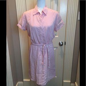 Pale pink shirt dress